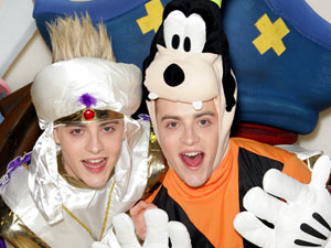 Jedward suit up as Goofy and Aladdin in Hamleys in central London for the launch of Disney Universe the video game.
