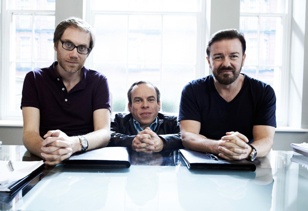 Stephen Merchant, Warwick Davis and Ricky Gervais