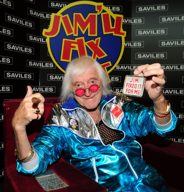 Jimmy Savile in a blue tracksuit
