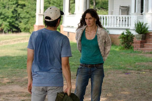 Glenn (Steven Yeun) and Lori Grimes (Sarah Wayne Callies)