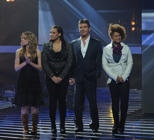 "The X Factor Top 12 Results Show: Judge Simon Cowell with ""The Girls"""