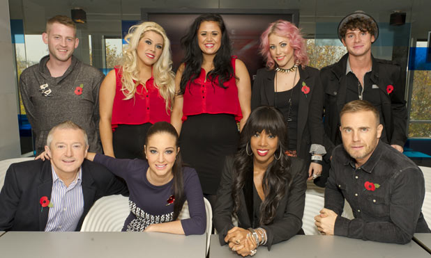 The <em>X Factor</em> judges and Jonjo Kerr, 2 Shoes, Amelia Lily and James Michael