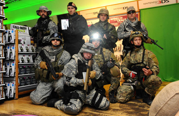 Soldiers inside the store