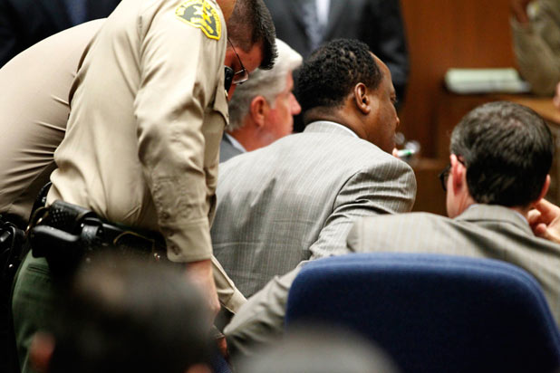 Conrad Murray is handcuffed after the jury announced its verdict