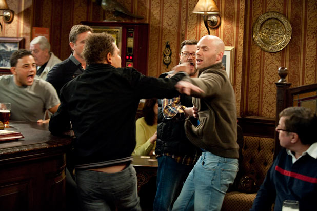 Lloyd and Chris nearly come to blows in the pub