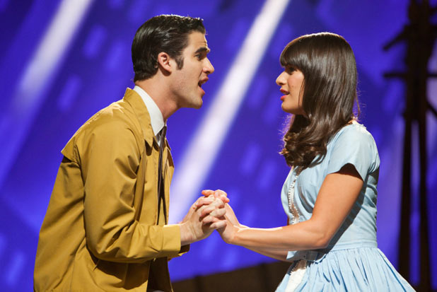 Rachel and Blaine perform