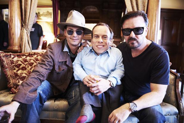 Johnny Depp, Warwick Davies, Ricky Gervais
