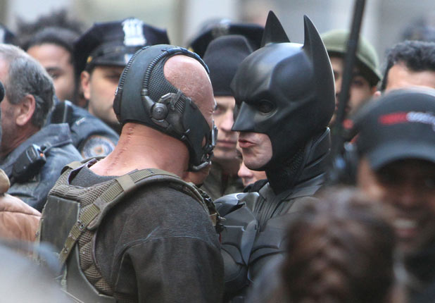 Tom Hardy and Christian Bale on the set of 'The Dark Knight Rises'