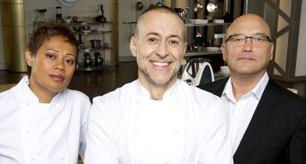 Monica Galetti, Michel Roux Jr and Gregg Wallace from MasterChef The Professionals