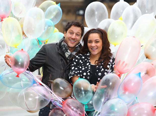 Matt Cardle with inflated condoms