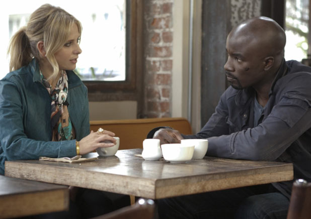 Sarah Michelle Gellar as Siobhan Martin/Bridget Kelly and Mike Colter as Malcolm Ward