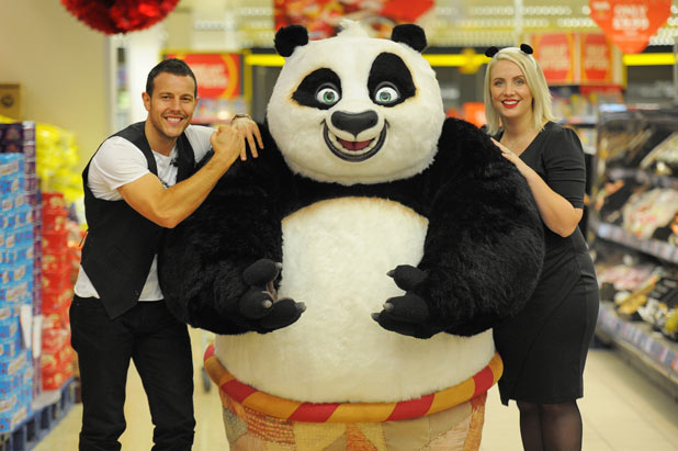 Claire and Lee from Steps launch Kung Fu Panda 2 DVD in Sainsbury's with Po
