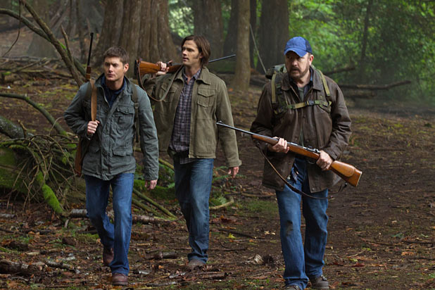 Jensen Ackles as Dean, Jared Padalecki as Sam, and Jim Beaver as Bobby