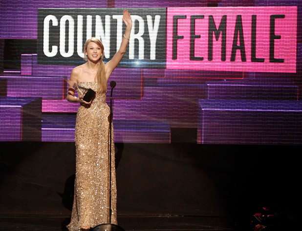 Taylor Swift accepts the award for country favorite female artist onstage at the 39th Annual American Music Awards