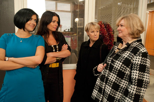 Anne and Sally demand that Carla and Michelle hand over a box of silk addressed for Frank