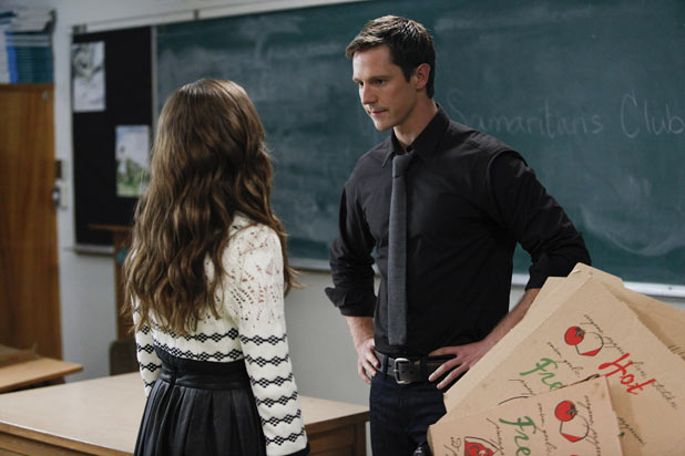 Zoey Deutch as Juliet Martin and Jason Dohring as Mr. Carpenter