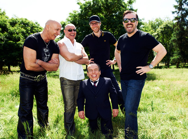 Right Said Fred, Warwick Davis, Stephen Merchant and Ricky Gervais