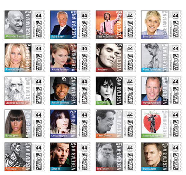 Famous vegetarians appear on US stamps for PETA