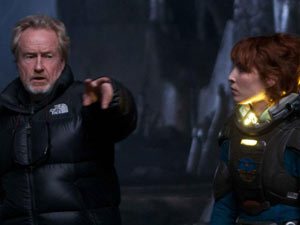 Ridley Scott directors Noomi Rapace, who plays scientist Elizabeth Shaw.