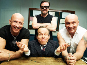 Warwick Davis, Right Said Fred and Ricky Gervais