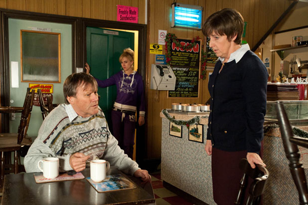 Becky overhears Hayley telling Roy she does not know whether to believe Becky or Tracy's version of events