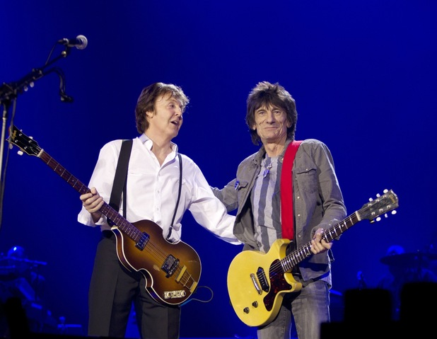 Paul McCartney and Ronnie Wood