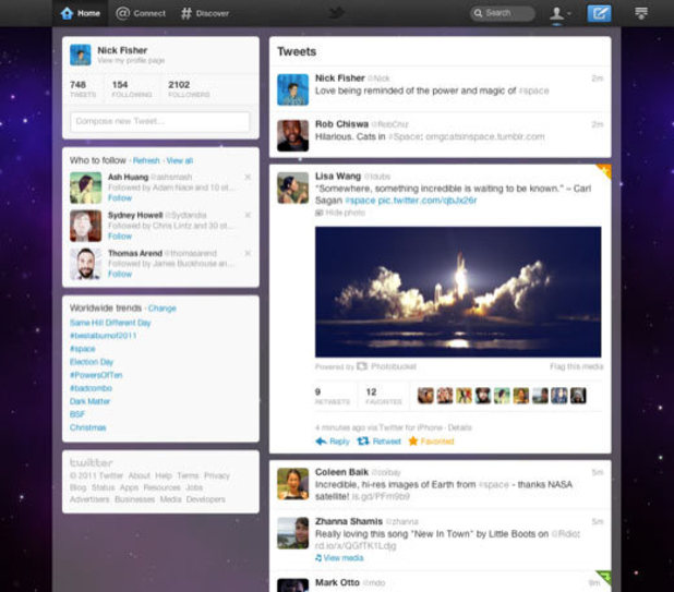 A screenshot of the new redesign of the Twitter homepage