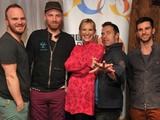 DJ Jo Whiley backstage with Coldplay before their Radio 2 'In Concert' gig at Dingwalls, Camden