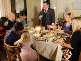 Max and Derek squabble over who should be head of the table