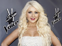 Christina Aguilera tweets Blake Shelton and Adam Levine to tell them to behave.