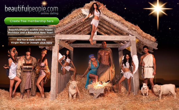 Beautiful People Online Dating Website screenshot: Bid for a date with Mary or Joseph