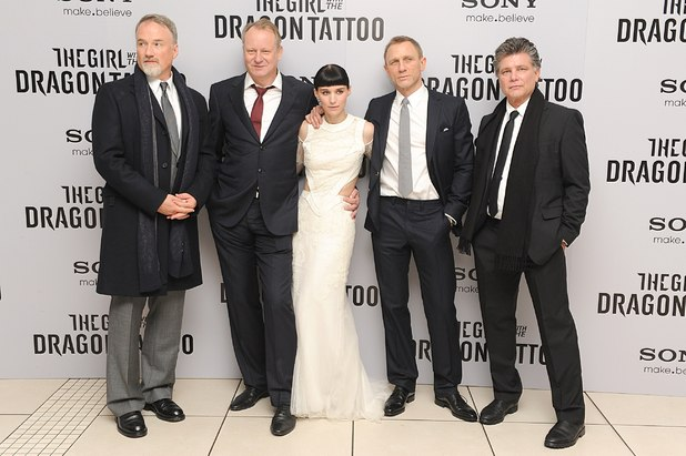 David Fincher, Stellen Skarsgard, Rooney Mara, Daniel Craig and Steven Zaillian