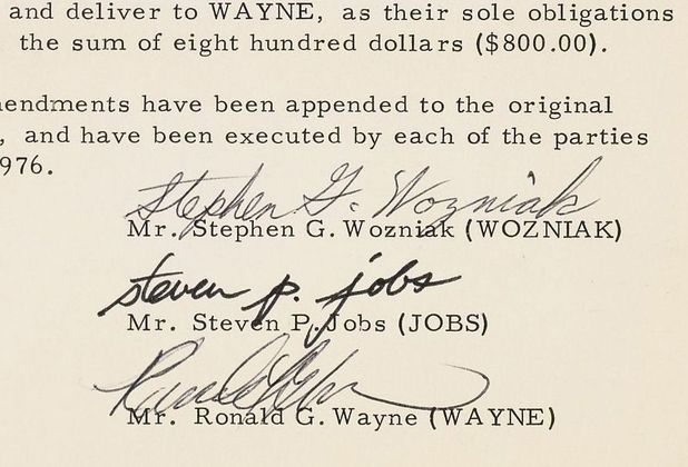 Apple founding papers, Steve Jobs, Steve Wozniak and Ronald Wayne Southebys