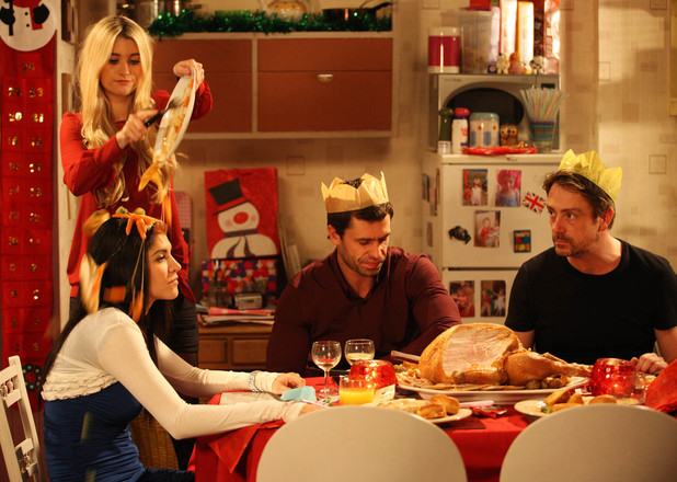 Debbie Dingle (Charley Webb) and Alicia Gallagher (Natalie Anderson) clash over Christmas dinner