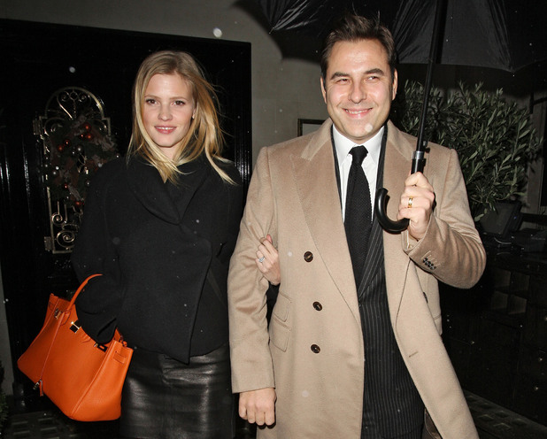 David Walliams and Lara Stone leaving Scotts restaurant after dining with Gary and Dawn Barlow London,