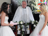 The guests look on as Sian reads her vows perfectly