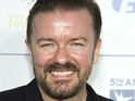Ricky Gervais and Mary Louise Parker appear in a Time Warner Cable commercial.