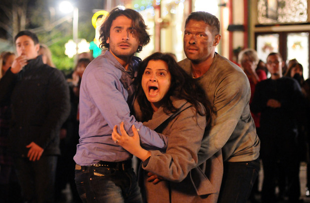 Syed, Zainab and Christian watch in horror as the B&B explodes