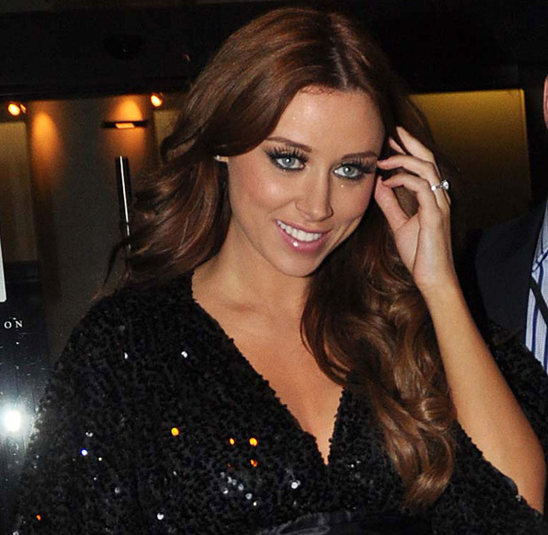 Newly engaged Una Healy of The Saturdays flashing her engagement ring at Krystle Nightclub on Harcourt Street for their end of tour afterparty. Dublin, Ireland