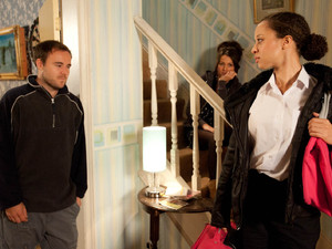 At the house, Kirsty is threatening Tina with more trouble if s he doesn't keep out of her way when Tyrone walks in