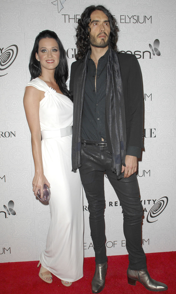 Katy Perry and Russell Brand seen shortly after their engagement in January 2010