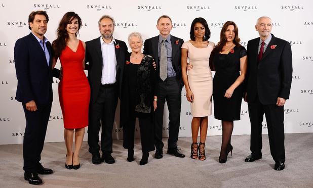 Skyfall, Javier Bardem, Berenice Marlohe, Sam Mendes, Dame Judi Dench, Daniel Craig, Naomie Harris, Barbara Broccoli and Michael G Wilson