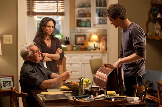 Peter Parker with Uncle Ben (Martin Sheen) and Aunt May (Sally Field)