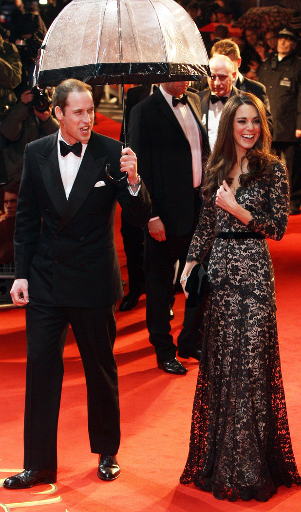 The Duke and Duchess of Cambridge arrive for the UK Royal film premiere of War Horse at the Odeon, West End