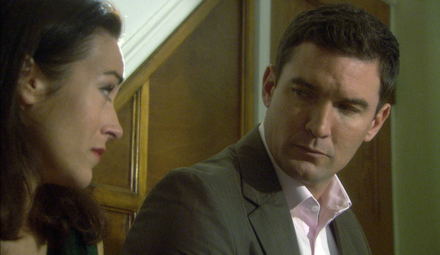 Zara Carmichael (Elisabeth Dermot-Walsh) annoys Daniel Granger (Matthew Chambers) by finding out the sex of their baby