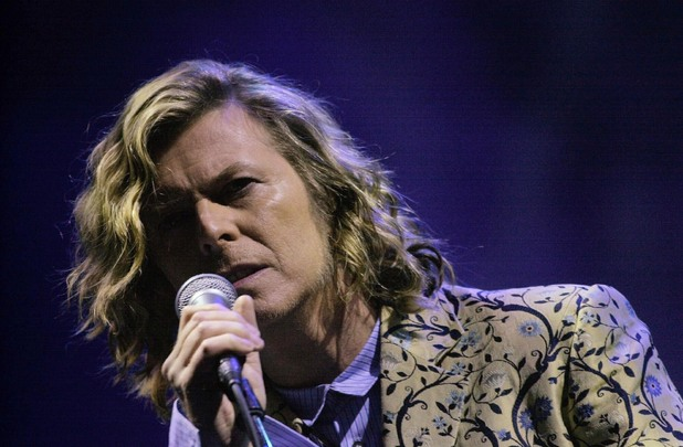 David Bowie performing at Glastonbury in the year 2000