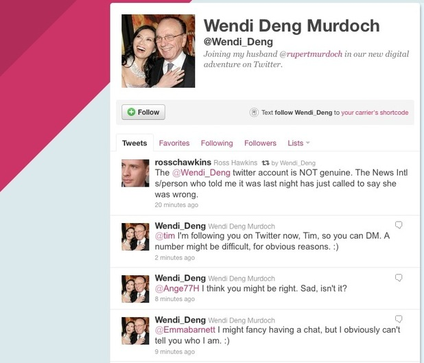 Wendi Deng Murdoch, fake Twitter account