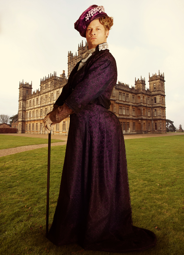 Dermot O'Leary dresses up as Downton Abbey's Lady Grantham for heat magazine
