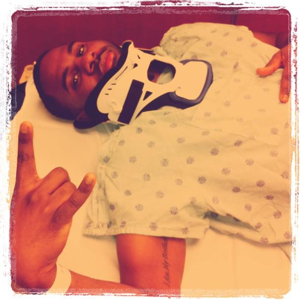 Jason Derulo with a fractured neck