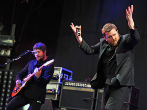 British Group: Elbow performing during the third day of the Reading Festival in Berkshire